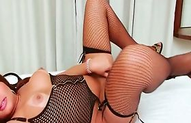 TS Bianca plays with her cute shecock