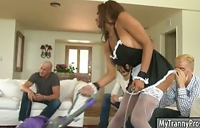 Huge hooters tranny maid Jessy Dubai double anal fuck