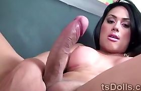 Gorgeous shemale Juliana Souza pleases her hefty prick alone