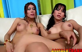 Hot tranny Vanesa gets topped by her friend Melanie