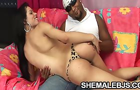 Sharon - Sultry Shemale Sucking A Shiny Black Tool