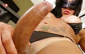 Busty shemale Nathany Gomes sucked by and anal slamming a guy