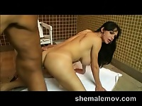 Mature wrinkled shemale fucked in the ass.