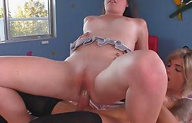 Busty tranny Nina Lawless fucked sexy redhead hottie