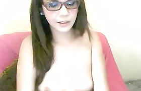 Shemale Glasses Babe Strips and Masturbate