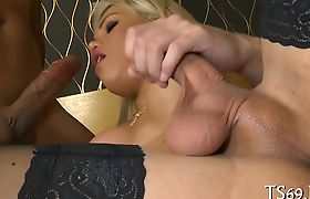 Doggy-style anal fuck with shemale