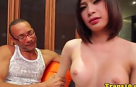 Asian ladyboy in lingerie gets fucks with big dick.